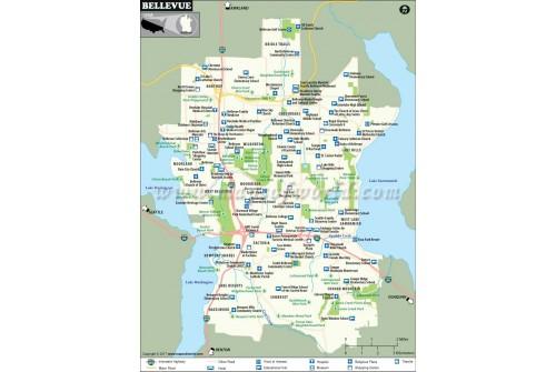 Bellevue City Map, Washington