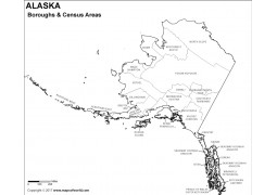 Black and White Alaska Borough Map