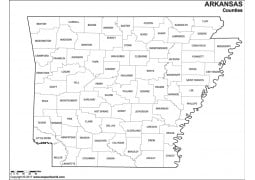Black and White Arkansas County Map