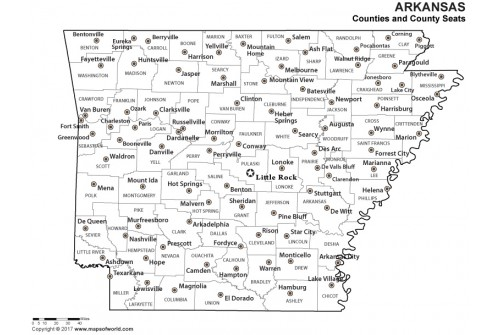 Black and White Arkansas County Map with Seats