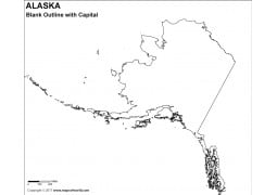 Blank Map of Alaska with Capital