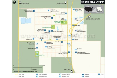 Florida City Map, Florida