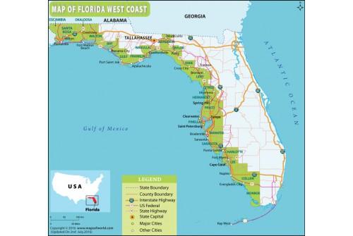 Map of Florida West Coast