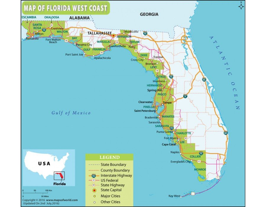 Buy Florida West Coast Map Online
