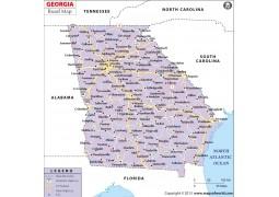 Georgia Road Map, USA - Digital File