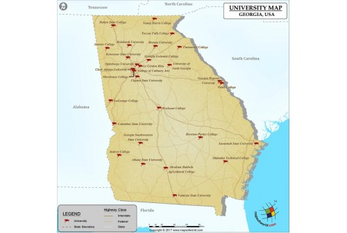 Map of Georgia Universities and Colleges