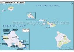 Map of Oahu Beaches, Hawaii - Digital File
