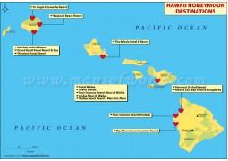 Map of Hawaii Honeymoon Destinations