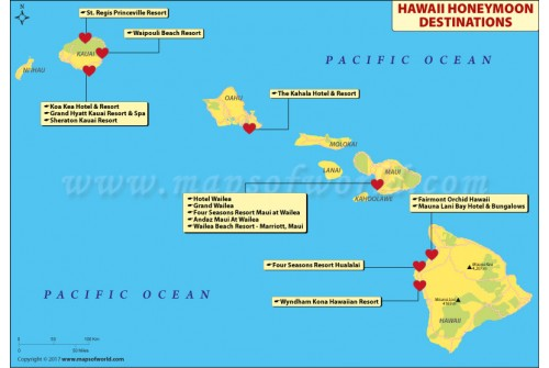 Map of Hawaii Honeymoon Destinations