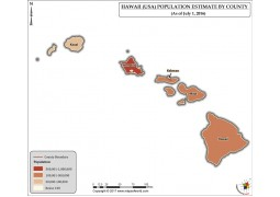 Hawaii Population Estimate By County 2016 Map - Digital File