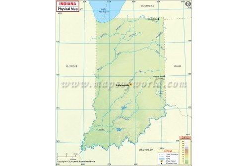 Buy Physical Map Of Indiana - Indiana physical map