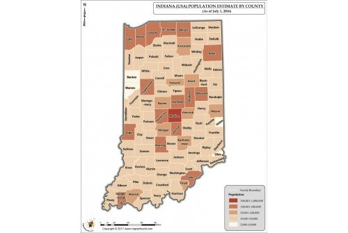 Indiana Population Estimate By County 2016 Map