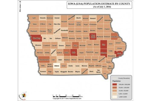 Iowa Population Estimate By County 2016 Map