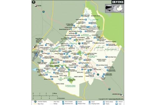 Irvine City Map, California