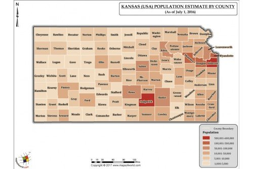 Kansas Population Estimate By County 2016 Map
