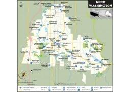 Kent City Map, Washington