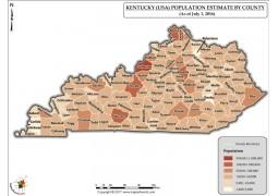 Kentucky Population Estimate By County 2016 Map - Digital File