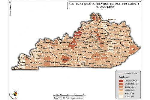 Kentucky Population Estimate By County 2016 Map