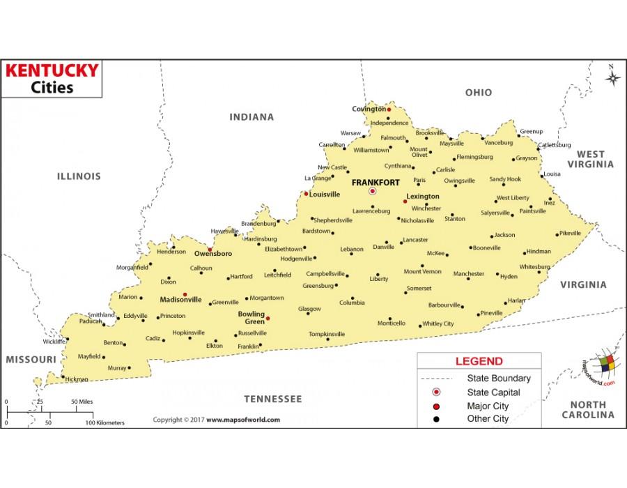 Buy Kentucky Cities Map