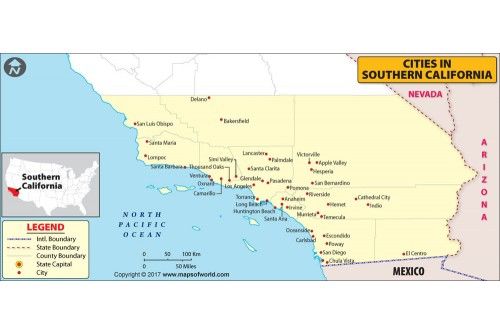 Cities in Southern California Map