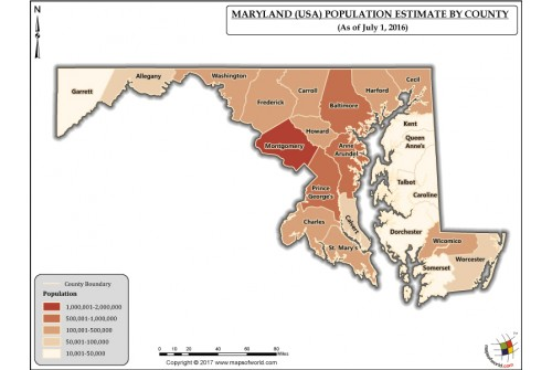 Maryland Population Estimate By County 2016 Map