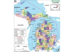 Michigan County Map - Digital File