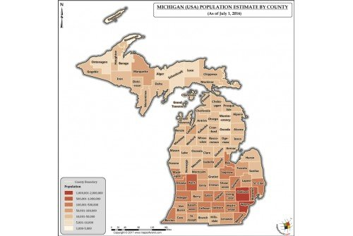 Michigan Population Estimate By County 2016 Map