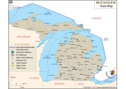 Michigan State Map - Digital File
