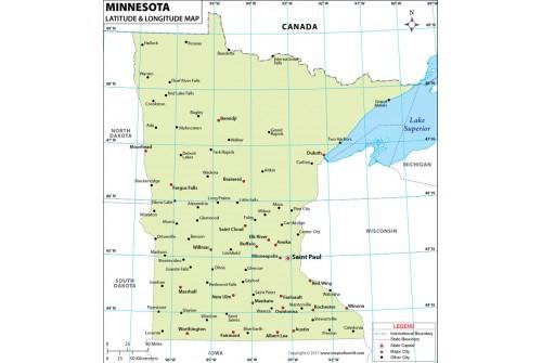 Minnesota Lat Long Map