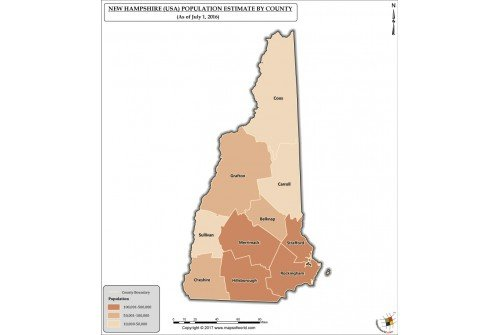 New Hampshire Population Estimate By County 2016 Map
