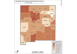 New Mexico Population Estimate By County 2016 Map - Digital File