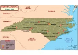 North Carolina Airports Map - Digital File