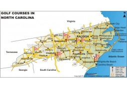 North Carolina Golf Courses Map - Digital File