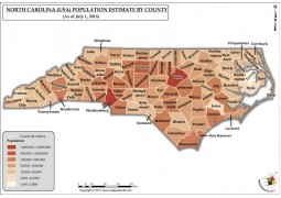 North Carolina Population Estimate By County 2016 Map - Digital File