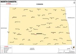 North Dakota Cities Map
