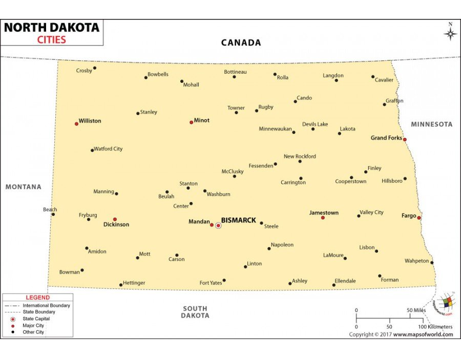 Buy North Dakota Cities Map