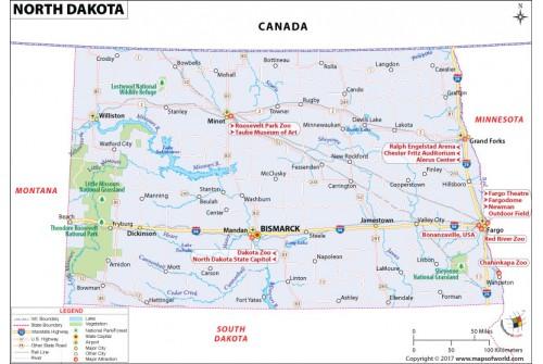 Reference Map of North Dakota