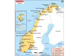 Norway Airports Map - Digital File