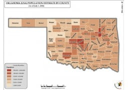Oklahoma Population Estimate By County 2016 Map - Digital File