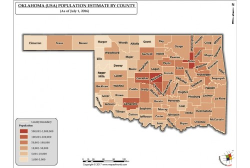 Oklahoma Population Estimate By County 2016 Map