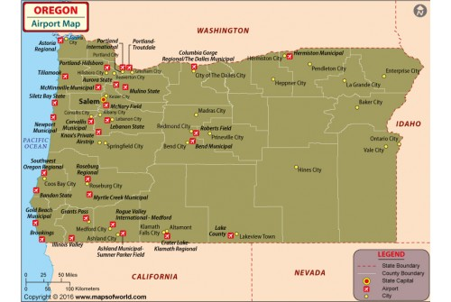 Oregon Airports Map