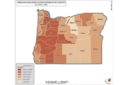 Oregon Population Estimate By County 2016 Map