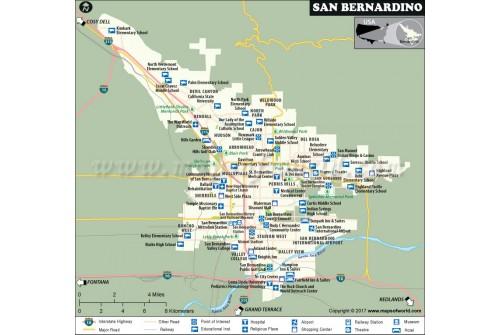 San Bernardino City Map, California