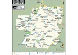 Santa Ana City Map, California