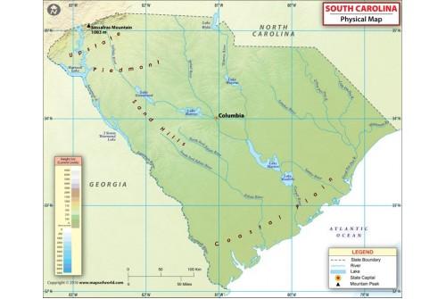 Physical Map of South Carolina