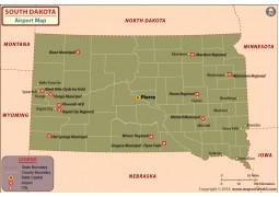 South Dakota Airports Map - Digital File