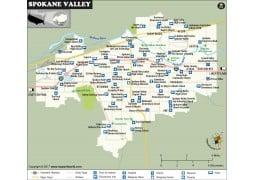 Spokane Valley Map, Washington