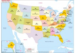 Buy US Time Zone Map - Map of the united states with abbreviations