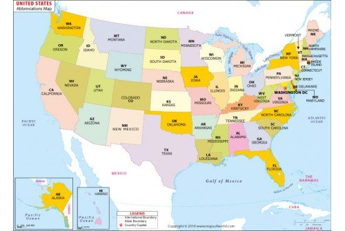 Buy US States Abbreviations Map
