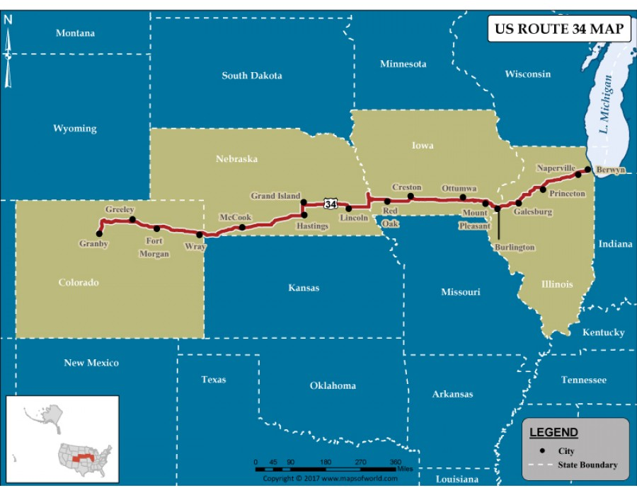 Buy US Route 34 Map